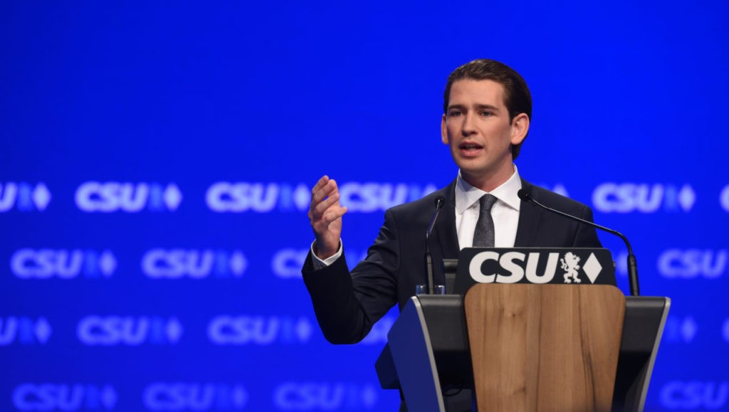 Austrian Foreign Minister Sebastian Kurz speaks during the party congress of the German Christian Social Union Party (CSU) in Munich, southern Germany, on November 4, 2016. / AFP / CHRISTOF STACHE (Photo credit should read CHRISTOF STACHE/AFP/Getty Images)