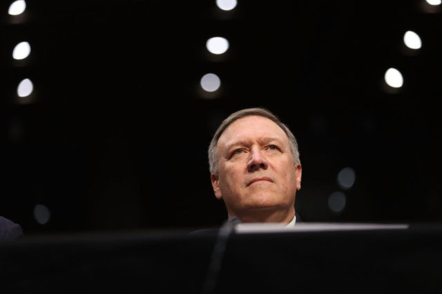 WASHINGTON, DC - JANUARY 12: U.S. President-elect Donald Trump's nominee for the director of the CIA, Rep.Mike Pompeo(R-KS) attends his confirmation hearing before the Senate (Select) Intelligence Committee on January 12, 2017 in Washington, DC. Mr. Pompeo is a former Army officer who graduated first in his class from West …