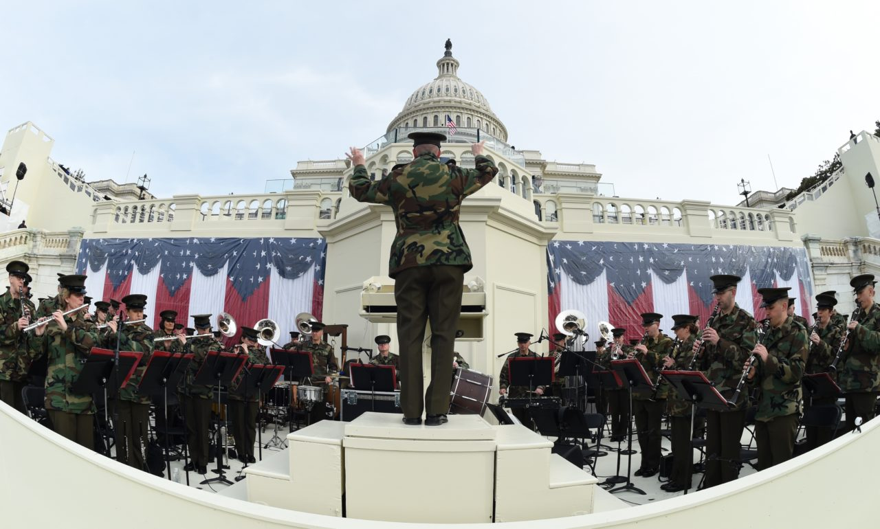The United States Marine Corps Band practices in front of the podium where US President-elect Donald Trump will take the oath of office and be sworn in as the 45th US president in Washington, DC on January 19, 2017. (Photo: TIMOTHY A. CLARY/AFP/Getty Images)