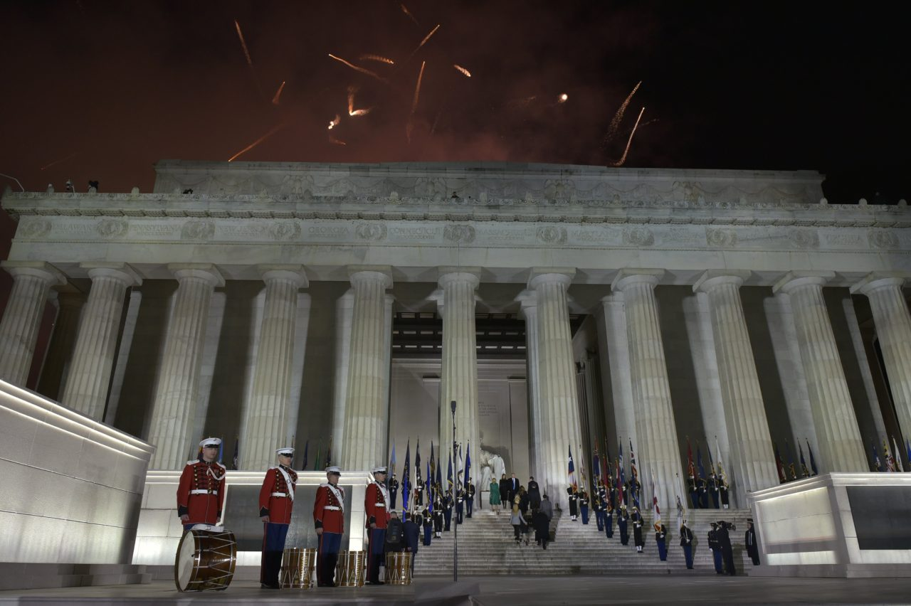 US President-elect Donald Trump and family make their way up the steps of the Lincoln Memorial at the end of a welcome celebration in Washington, DC, on January 19, 2017. / AFP / MANDEL NGAN (Photo credit should read MANDEL NGAN/AFP/Getty Images)