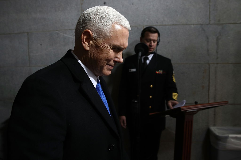 WASHINGTON, DC - JANUARY 20: U.S. Vice President-elect Mike Pence arrives on the West Front of the U.S. Capitol on January 20, 2017 in Washington, DC. In today's inauguration ceremony Donald J. Trump becomes the 45th president of the United States. (Photo by Win McNamee/Getty Images)