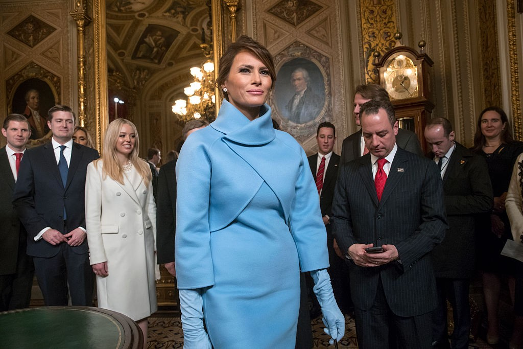 WASHINGTON, DC - JANUARY 20: First lady Melania Trump, the wife of President Donald Trump, leaves the President's Room of the Senate, at the Capitol in Washington, January 20, 2017, after President Trump signed his first legislation. (Photo by J. Scott Applewhite - Pool/Getty Images)
