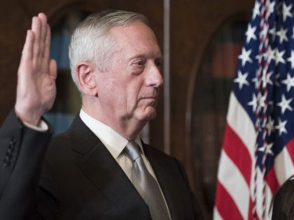 WASHINGTON, DC - JANUARY 20: Marine Corps General James Mattis is sworn-in as Defense Secretary by Vice President Mike Pence (not pictures), in the Vice Presidential ceremonial office in the Executive Office Building in Washington, D.C. on January 20, 2017. (Photo by Kevin Dietsch - Pool/Getty Images)
