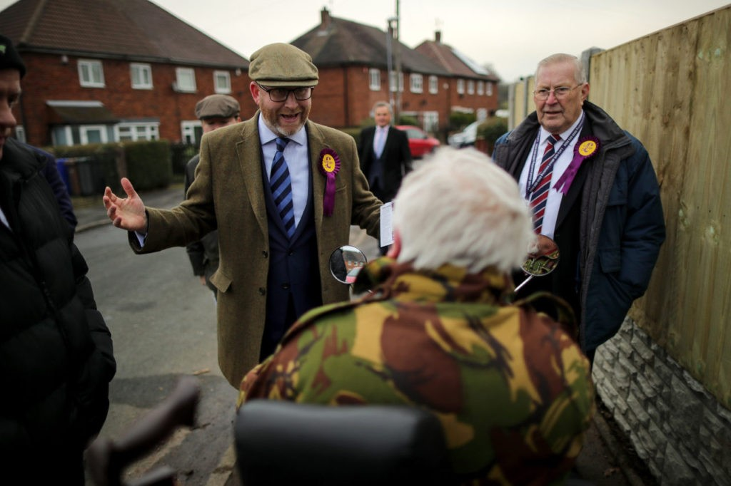 STOKE-ON-TRENT, ENGLAND - JANUARY 21: United Kingdom Independent Party (UKIP) leader Paul Nuttall talks to residents in Bentileee as he canvasses for votes after he announced that he is to stand for member of parliament in the Stoke-On-Trent Central by-election on January 21, 2017 in Stoke-on-Trent, England. The Stoke-On-Trent central by-election has been called after sitting Labour MP Tristram Hunt resigned from his seat to be a museum director. (Photo by Christopher Furlong/Getty Images)