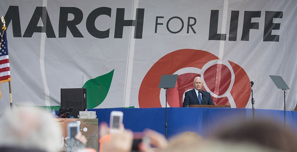 Vice President Mike Pence speaks at the March for Life rally on January 27, 2017 in Washington,DC. Anti-abortion activists are gathering for the 44th annual March for Life in Washington, protesting the 1973 Supreme Court decision legalizing abortion. / AFP / Tasos Katopodis (Photo credit should read TASOS KATOPODIS/AFP/Getty Images)