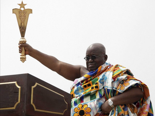 Ghana President elect Nana Akufo-Addo during his inauguration ceremony in Accra, Ghana, Saturday Jan. 7, 2017. Ghana's chief justice swore in the nation's newly elected President Nana Akufo-Addo amid a sea of people dressed in the red, blue and white colors of his party. Akufo-Addo, 72, won the Dec. 7 …