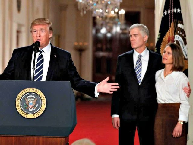 Gorsuch, Trump, Wife AP