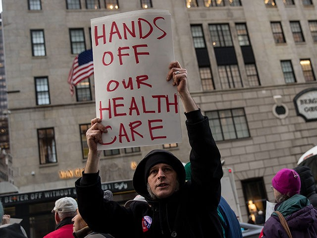 NEW YORK, NY - JANUARY 13: Health care activists rally down the street from Trump Tower to 'declare healthcare a human right,' near Trump Tower, January 13, 2017 in New York City. The annual National Single-Payer Strategy Conference will be taking place this weekend in New York. (Photo by Drew …