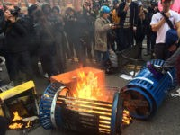 Inauguration Protesters Light Fire in Street, Throw Embers at Police