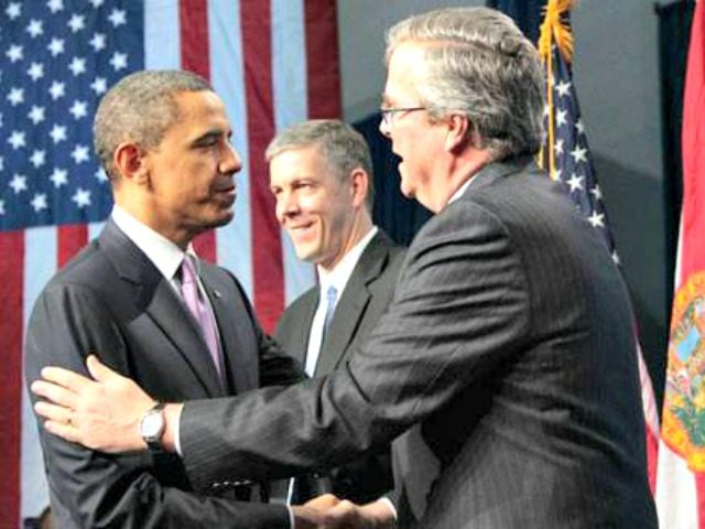 Jeb and Obama AP