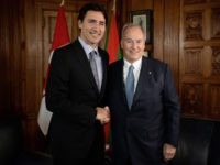 Prime Minister Justin Trudeau meets with the Aga Khan on Parliament Hill in Ottawa on Tuesday, May 17, 2016. (Sean Kilpatrick/The Canadian Press via AP)