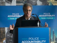 CHICAGO, IL - APRIL 13: Lori Lightfoot, chair of the Chicago Police Board, addresses community leaders and members of the news media about the findings of the Police Accountability Task Force on April 13, 2016 in Chicago, Illinois. The task force found the Chicago Police Department was plagued by systematic …