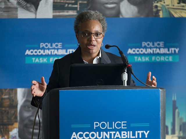 CHICAGO, IL - APRIL 13: Lori Lightfoot, chair of the Chicago Police Board, addresses community leaders and members of the news media about the findings of the Police Accountability Task Force on April 13, 2016 in Chicago, Illinois. The task force found the Chicago Police Department was plagued by systematic racism and had lost the trust of the community. (Photo by Scott Olson/Getty Images)