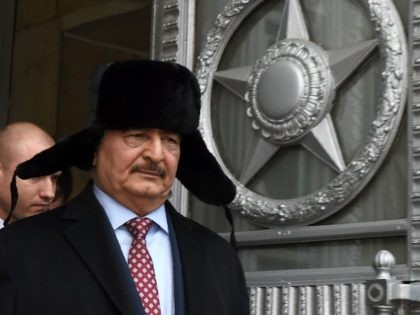Marshal Khalifa Haftar, chief of the so-called Libyan National Army, leaves the main building of Russia's Foreign Ministry after a meeting with Russian Minister of Foreign Affairs in Moscow on November 29, 2016. / AFP / Vasily MAXIMOV (Photo credit should read VASILY MAXIMOV/AFP/Getty Images)