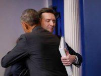 Obama Hugs Josh Earnest AP