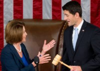 Newly elected House Speaker Paul Ryan of Wis., receives the Speaker's gavel from House Minority Leader Nancy Pelosi of Calif., in the House Chamber on Capitol Hill in Washington, Thursday, Oct. 29, 2015. Republicans rallied behind Ryan to elect him the House's 54th speaker on Thursday as a splintered GOP …