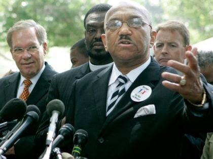 Rev. William Owens, of the Coalition of African Americans, speaks about same sex marriage while Rep. Katherine Harris (R-FL) (L) and Sen.Wayne Allerd (R-CO) (2nd-L) stand nearby during a news conference on Capitol Hill June 6, 2006 in Washington DC. This week the U.S. Senate began debate on a constitutional …