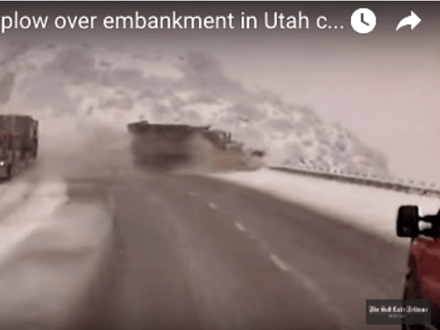Semi clips UDOT snowplow, rolling it down embankment