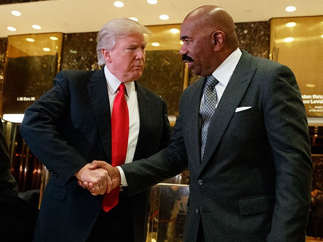 Donald Trump And Steve Harvey Shake Hands