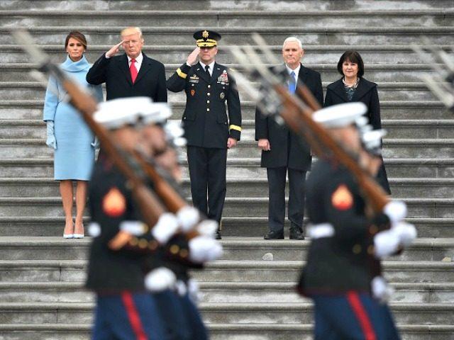 Trump Reviews Military Getty