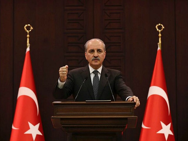 ANKARA, TURKEY - DECEMBER 12: Turkish Deputy Prime Minister and the government spokesman Numan Kurtulmus delivers a speech during a press conference following the cabinet meeting in Ankara, Turkey on December 12, 2016. (Photo by Guven Yilmaz/Anadolu Agency/Getty Images)