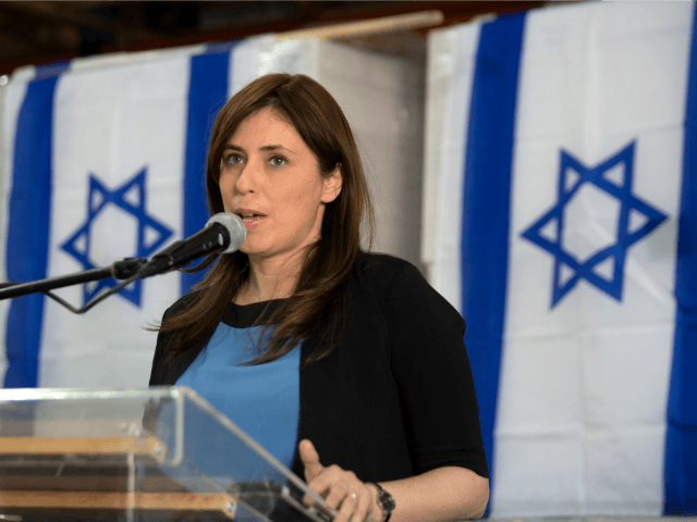 Israeli Deputy Foreign Minister Tzipi Hotovely gives a press conference on November 3, 2015 in the Lipski plastic factory at the Barkan Industrial Park near the Israeli settlement of Ariel in the occupied West Bank, on the European Union's (EU) decision to label goods made in Jewish settlements. AFP PHOTO …