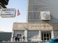 A picture taken on January 20, 2017 shows the exterior of the US Embassy building in the Israeli coastal city of Tel Aviv, coinciding with the inauguration of Donald Trump as the 45th president of the United States. Outgoing US President Barack Obama warned his successor against any 'sudden, unilateral moves' on the Israeli-Palestinian conflict, in an apparent reference to his plan to move the US embassy from Tel Aviv to Jerusalem. / AFP / JACK GUEZ (Photo credit should read JACK GUEZ/AFP/Getty Images)