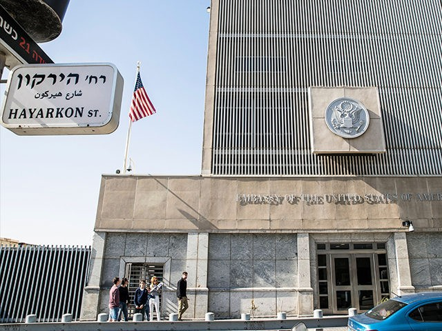 A picture taken on January 20, 2017 shows the exterior of the US Embassy building in the Israeli coastal city of Tel Aviv, coinciding with the inauguration of Donald Trump as the 45th president of the United States. Outgoing US President Barack Obama warned his successor against any 'sudden, unilateral …