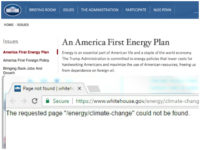 WhiteHouse.gov Takes Down Climate Page, Puts Up 'America First' Energy Plan