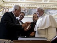 Palestinian president Mahmud Abbas (L) exchange gifts with Pope Francis, during a private audience at the Vatican on January 14, 2017. Abbas meets Pope Francis on the eve of an international conference on Middle East peace in Paris as diplomats play down Israeli fears of a second UN Security Council …