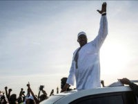 BANJUL, THE GAMBIA - JANUARY 26: Gambian President Adama Barrow arrives at Banjul International Airport on January 26, 2017 in Banjul, The Gambia. Barrow had been staying in Senegal after authoritarian ex-president Yahya Jammeh refused to step down following December election results. (Photo by Andrew Renneisen/Getty Images)