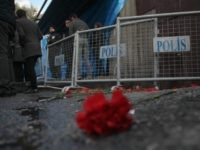 Flowers are placed outisde the Reina nightclub by the Bosphorus, following a gun attack on New Year's Eve, on January 1, 2017 in Istanbul, Turkey. According to Turkey's interior minister Suleyman Soylu at least 39 people, including 15 foreigners, were killed and 40 wounded at Istanbul's famous Reina nightclub during …