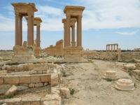 2830211 04/21/2016 The colonnade avenue and Tetrapylon in the historical part of Palmyra. Mikhail Voskresenskiy/Sputnik via AP