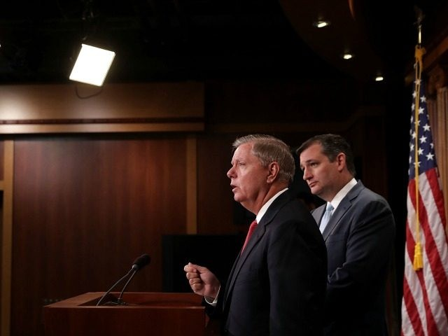 Sen. Ted Cruz (R-TX) (R) and Sen. Lindsey Graham (R-SC) hold a news conference about military assistance to Israel at the U.S. Capitol September 20, 2016 in Washington, DC. Graham is threatening to stall approval of an agreement on military assistance between the U.S. and Israel by introducing legislation that …