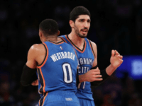Russell Westbrook and Enes Kanter of the Oklahoma City Thunder, seen in action during a NBA game at Madison Square Garden in New York