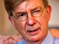George Will, a Pulitzer Prize-winning conservative American newspaper columnist, journalist, and author is interviewed by AP writer Hillel Italie on politics, history, and life without the late William F. Buckley, at Will's office in Washington's Georgetown district, Tuesday, April 22, 2008. (AP Photo/J. Scott Applewhite)