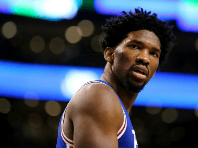 Joel Embiid of the Philadelphia 76ers, pictured on January 6, 2017, scored 22 points with 12 rebounds and five blocked shots in 29 minutes against the Bucks
