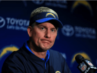 Head Coach Mike McCoy of the San Diego Chargers addresses the media after losing to the Kansas City Chiefs 37-27, at Qualcomm Stadium in San Diego, California, on January 1, 2017