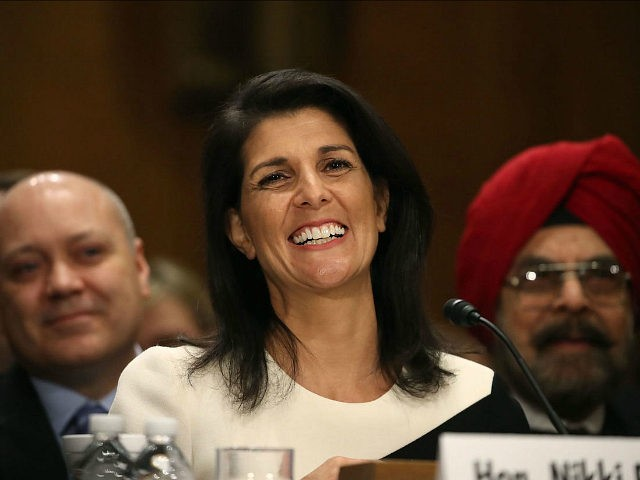 WASHINGTON, DC - JANUARY 18: Gov. Nikki Haley, (R-SC), speaks during her Senate Foreign Relations Committee confirmation hearing on Capitol Hill, January 18, 2017 in Washington, DC. Haley was nominated by President-elect Donald Trump to become representative of the United States of America to the United Nations. (Photo by Mark …