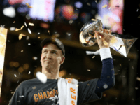 Peyton Manning of the Denver Broncos celebrates with the Vince Lombardi Trophy after Super Bowl 50 on February 7, 2016 in Santa Clara, California