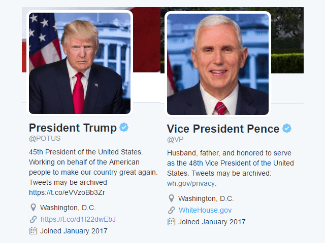 government white house potus social media accounts transfer president trump
