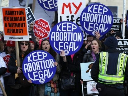 WASHINGTON, DC - JANUARY 22: Pro-choice activists shout slogans before the annual March for Life passes by the U.S. Supreme Court January 22, 2015 in Washington, DC. Pro-life activists gathered in the nation's capital to mark the 1973 Supreme Court Roe v. Wade decision that legalized abortion. (Photo by Alex …