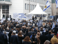 Protestors demonstrate during a rally in Paris against the Paris Middle East peace conference taking place in the French capital on January 15, 2017. Foreign ministers and representatives from around 70 countries will seek to revive the moribund Israeli-Palestinian peace process on January 15, with neither Israel nor the Palestinians …