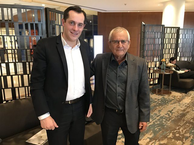 Front National Secretary General Nicolas Bay visits Israel. Here he poses for a photo with Moshe Revach, president of the Maccabi organization. January 27th 2017