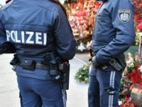 Policemen patrol over a Christmas market in Salzburg on December 20, 2016, as security measures are taken after a deadly rampage by a lorry driver at a Berlin Christmas market. / AFP / APA / BARBARA GINDL / Austria OUT (Photo credit should read BARBARA GINDL/AFP/Getty Images)