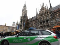 A police car parks in front of a part of the Christmas market at the Marienplatz in Munich, southern Germany, on December 20, 2016 one day after a truck crashed into a Christmas market in Berlin. / AFP / Christof STACHE (Photo credit should read CHRISTOF STACHE/AFP/Getty Images)