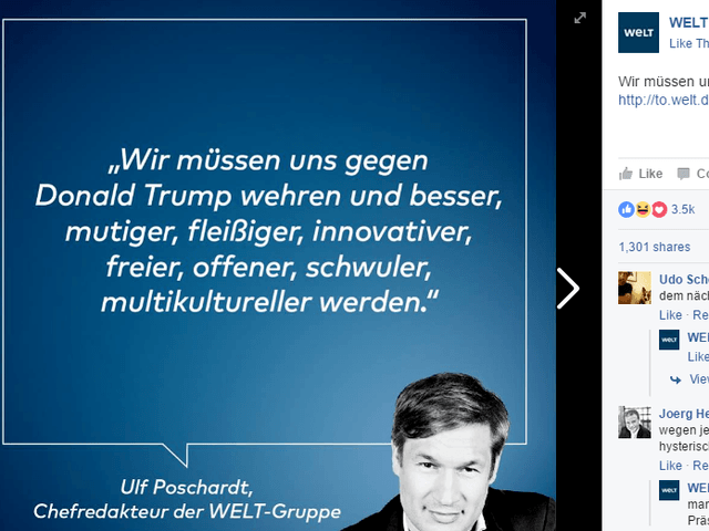 "Die Welt editor in chief Ulf Poschardt claims that German need to be ""more gay"" to fight Donald Trump"