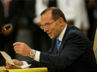 Australian Prime Minister Tony Abbott speaks during the 40th Anniversary summit meeting on the first day of the ASEAN Summit on November 12, 2014 in Naypyidaw, Burma. The Burmese capitol of Naypyidaw is hosting the 25th Association of Southeast Asian Nations (ASEAN) summit as world leaders including US President Barack Obama, Thai Premier Gen. Prayuth Chan-Ocha, Indonesian President Joko Widodo and Indian Premier Narendra Modi will be in attendance. (Photo by Paula Bronstein/Getty Images)