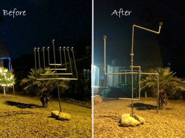 vandalized menorah swastika Arizona Courtesy: Facebook