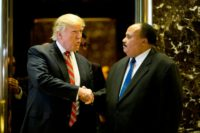 US President-elect Donald Trump shakes hands with Martin Luther King III after a meeting at Trump Tower in New York City
